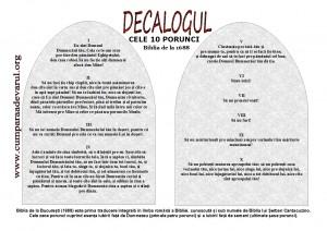 Cele 10 Porunci in Biblia de la Bucuresti 1688